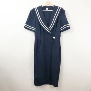 Vintage Nautical Sailor Picnic Dress, Size XL
